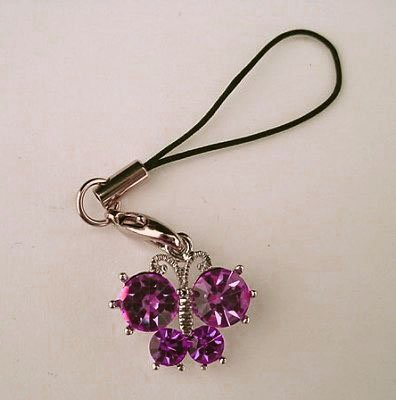Trendy Purple Crystal Butterfly Cell Phone Charm