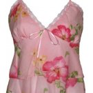 Sexy Soft Pink Floral Layered Camisole Top - Small