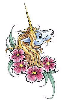 Unicorn Floral Large Temporary Tattoo