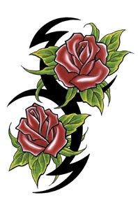 Double Rose Tribal Temporary Tattoo