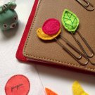 Set Animals Foods Felt Paper Clip Bookmark For Calendar Planner Accessory Office Organizer