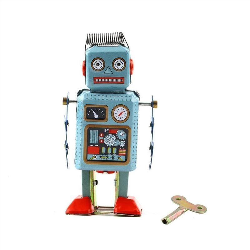 Vintage Mechanical Clockwork Wind Up Metal Walking Robot Tin Toy Kids Gift
