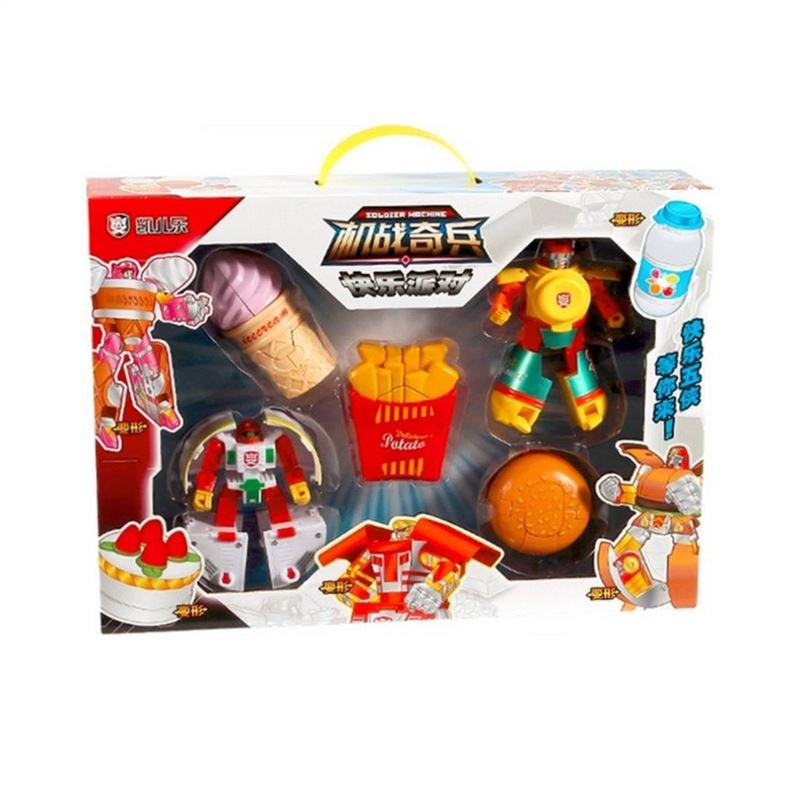 Plastic Transformers Children Model Food Robot Ice Cream Puzzle Toys Gift