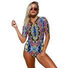 Abstract Print Zip Front Half Sleeve One Piece Swimsuit 410203-3 L