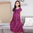 Sexy Short Sleeve Ice Silk Summer Night Dress Flower Bowknot Women Sleep Dress