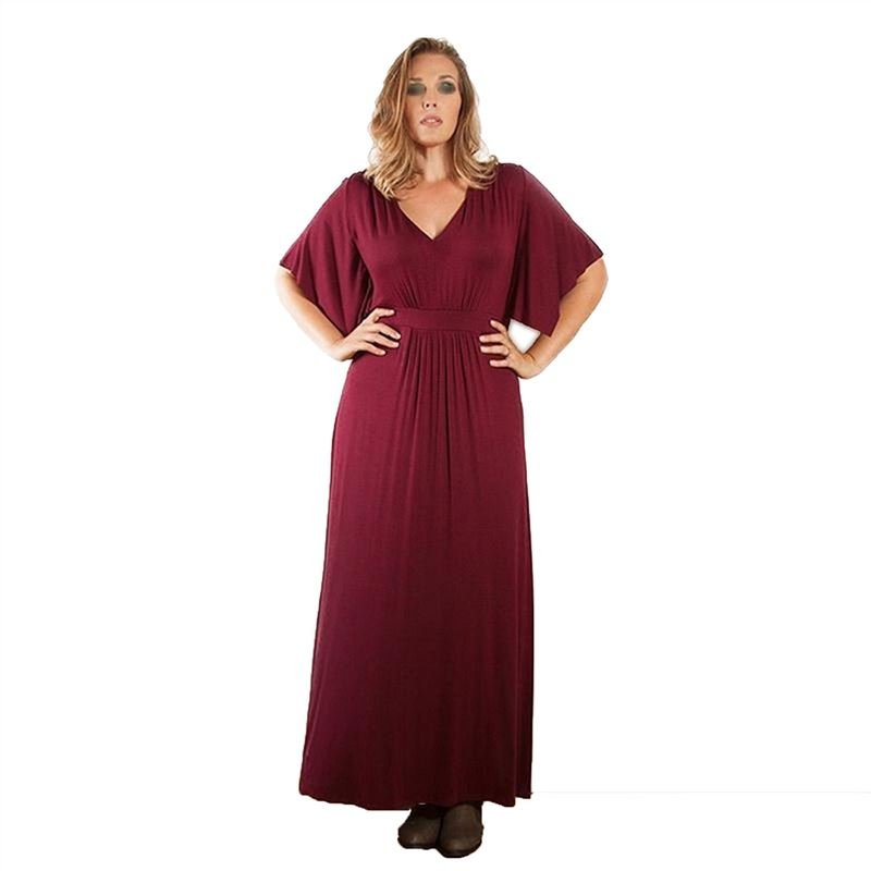 OMF BN0192 Women's Sexy Long Dress Plus Size V-neck Red 3XL Red
