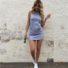 Women Solid Color Sleeveless Dress Female Lady Slim Hooded Pullover Dress