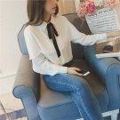 Autumn Women Shirt Long Lantern Sleeve Tops Turn-Down Collar Bowknot Blouse