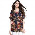 Women Floral Printed Summer Beach Cotton Linen Short Sleeve V Neck Tops