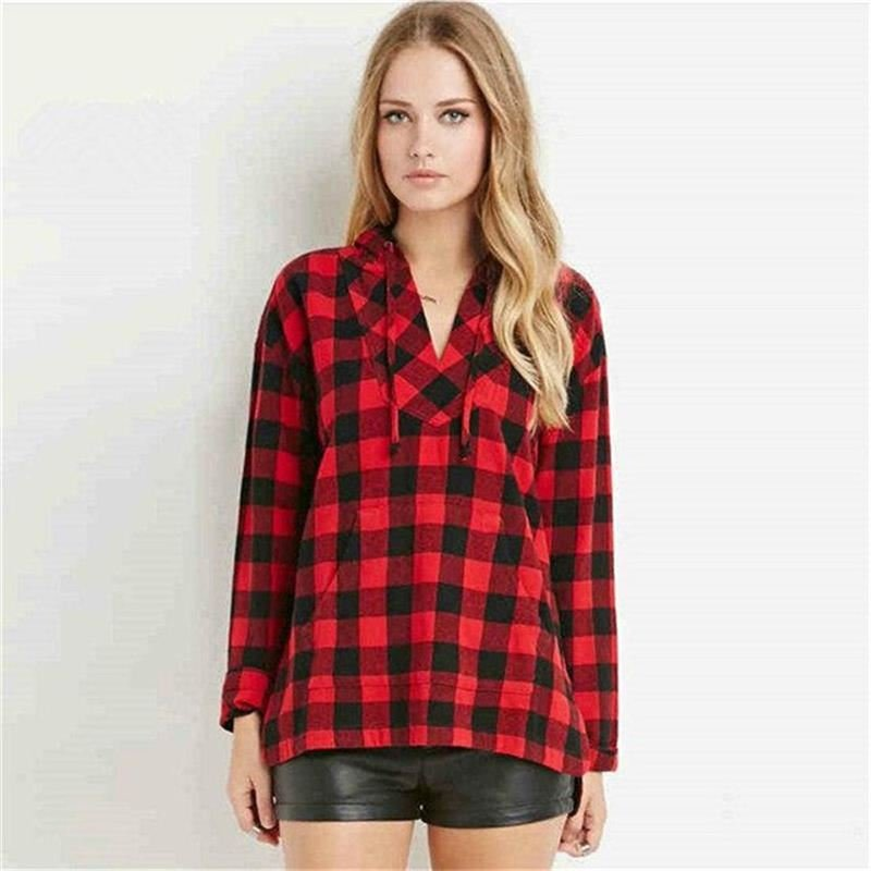 Product Name:  Women Color Blocking Stitching Shirt Long-sleeved Hooded V-neck Plaid Shirt Red 2XL