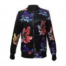 Digital Flowers Printing Bomber Jacket Zipper Fashion Women Jacket Coat