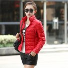Product Name:  Women Cotton Coat Female Light Short Cotton Jacket Solid Color Overcoat Red 2XL