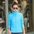 Product Name:  Women Cotton Coat Female Light Short Cotton Jacket Solid Color Overcoat sky blue xl