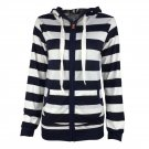 Product Name:  Stylish Striped Women Hoodie Long Sleeve Hooded Lady Jacket Zipper Overcoat