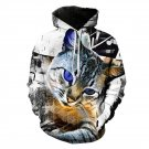 Occident Style Men Hooded Sweatshirts 3D Cat Digital Printing Loose Pullover