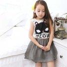 Summer Sleeveless Sundress Fashion Cat Stripes Print Party Dress for Girls