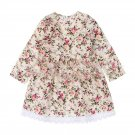Baby Girls Princess Lace Garden Floral Long Sleeves Above Knee A-Line Dress