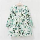 O-neck Long-sleeved One Piece Dress with Pretty Tree & Birds Pattern for Girls