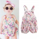 Cotton Floral Suspender Shorts with Lace Stitching & Elastic Waist for Girls