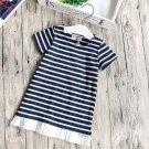 Girls Short Sleeves Modal Dress Fashion Striped Casual T-shirt for Summer