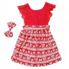 Children Clothes Lace Stitching One Piece Dress with Flying Sleeves for Girls