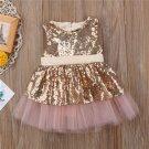 Sleeveless Princess Sequined Dress Girls Love Heart Shape Backless Skirt