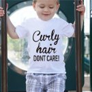 Baby Boys Girls T-shirt Solid Curly Hair Don't Care Printed Short Sleeve Tops