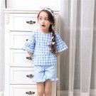 Lovely Girls Clothing Set Fashion Plaid Short Sleeve T-shirt + Casual Shorts