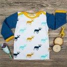 3Pcs Baby Boys Girls Clothes Set Deer Print Long Sleeve T-shirt Long Pants Hat