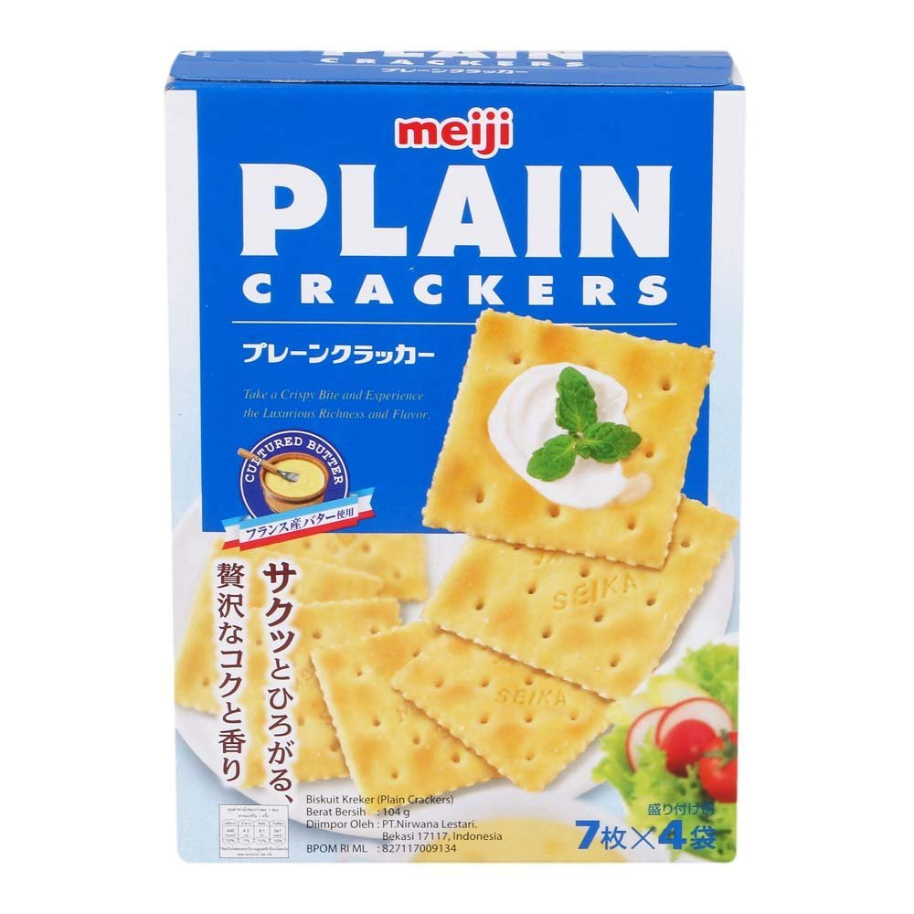 Meiji Plain Crackers, net weight 104 g (Pack of 2 pieces)