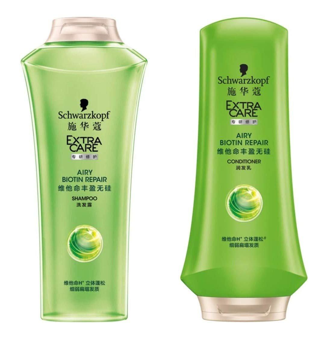 EXTRA CARE Airy Biotin Repair Shampoo and Conditioner 400 ml.