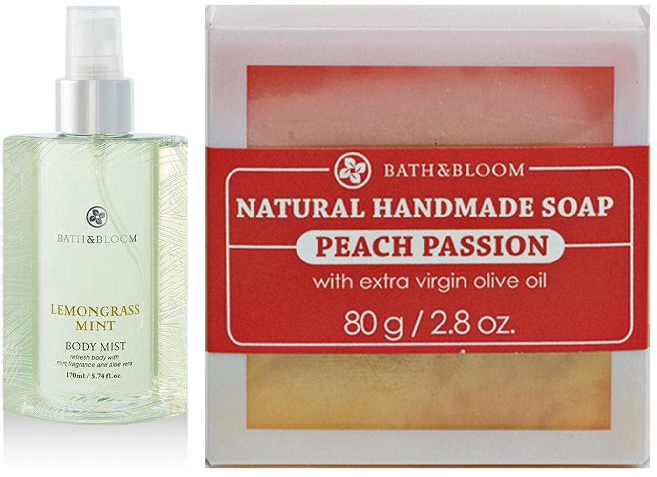 NEW!! BATH & BLOOM PEACH PASSION SOAP SET A45 BATH & BLOOM LEMONGRASS MINT BODY WATSONS DHL EXPRES