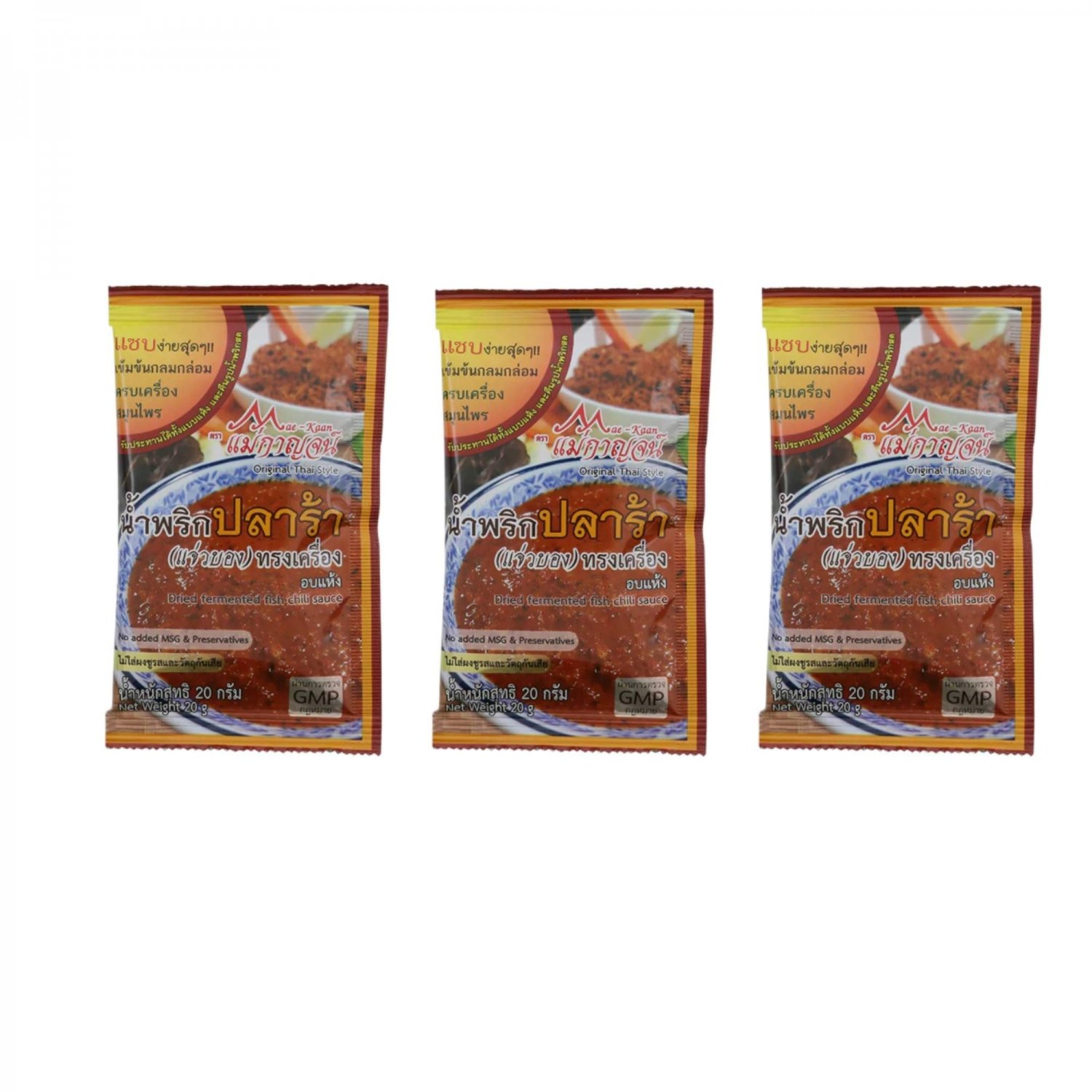Dried Fermented Fish Chili Sauce 20g Pack of 3 No MSG  NO Pr