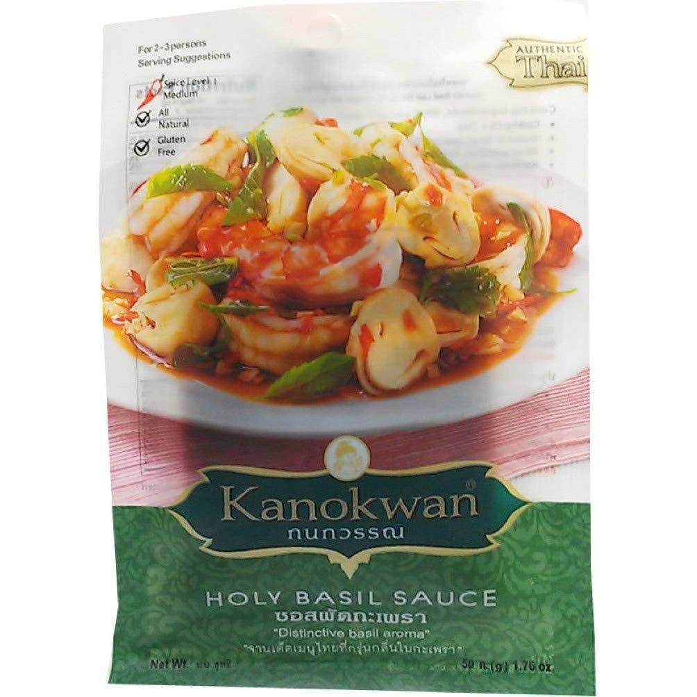 Kanokwan Holy Basil Sauce, Size 50 Gram X 6 Packs