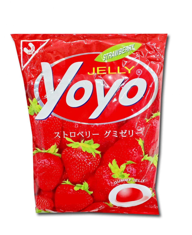 YOYO Jelly Fruity Gelatin Gummy Jelly Desert Size 80 Grams (STRAWBERR