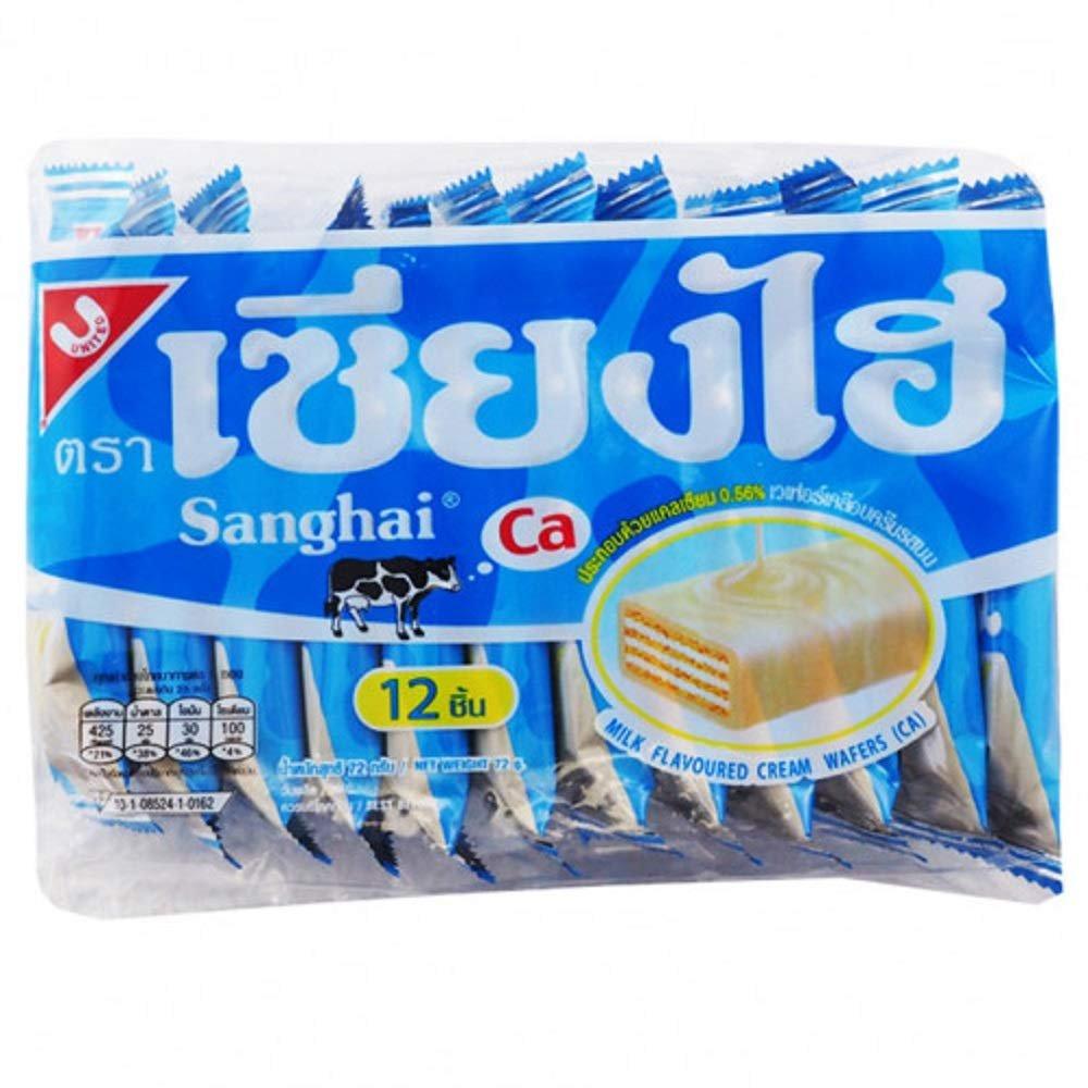 3x Sanghai Chocolate Wafer Chocolate Coating Milk flavor, 72 Grum/Pack(