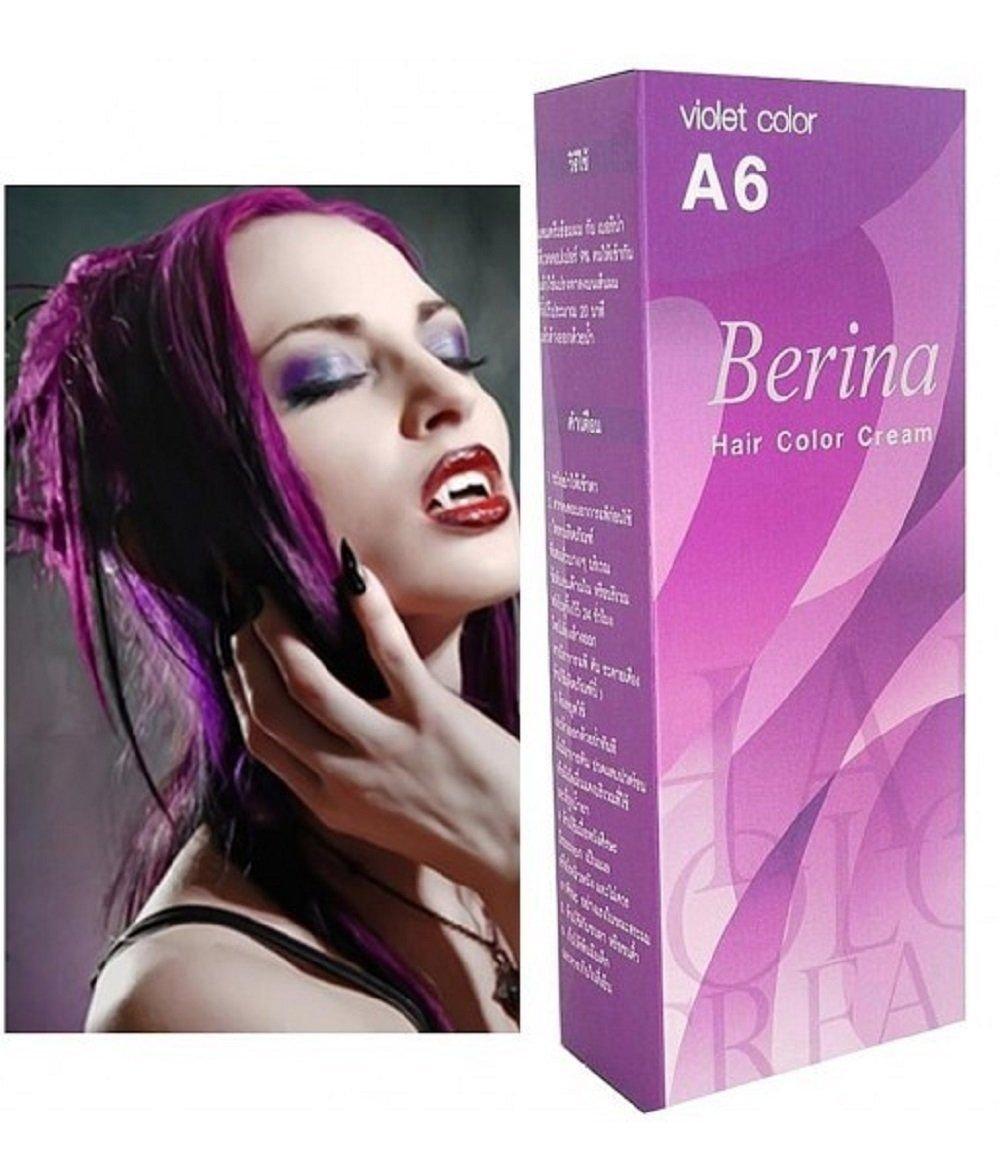 3x Berina Cream Hair Dye Permanent Color Purple Punk Emo Go A6.