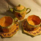 Shabby Chic Morris National Hand Painted Teapot With 2 Cups and 2 Saucers