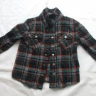 Ollie Boys Button Front Snap Sz 4 Flannel Plaid Western Long Sleeve  100% Cotto
