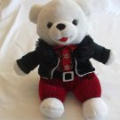 9 Inches Snowflake White Teddy Bear Black Coat, Red Shirt Red Pants 2013