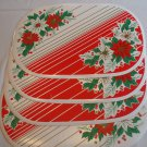 "4 Thick Vinyl Red & White Oval Christmas Holiday Table Placemats 17"" X 11"""