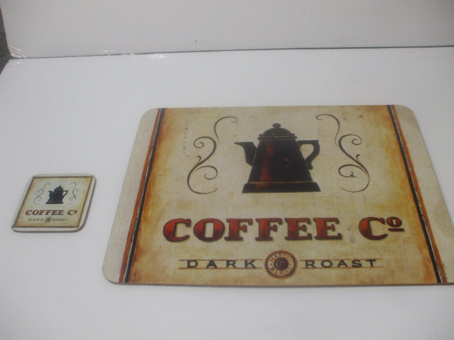 Shabby Chic Corkboard Placemat And Coaster 15 Inches X 13 Inches Coffee Co Dark Roast