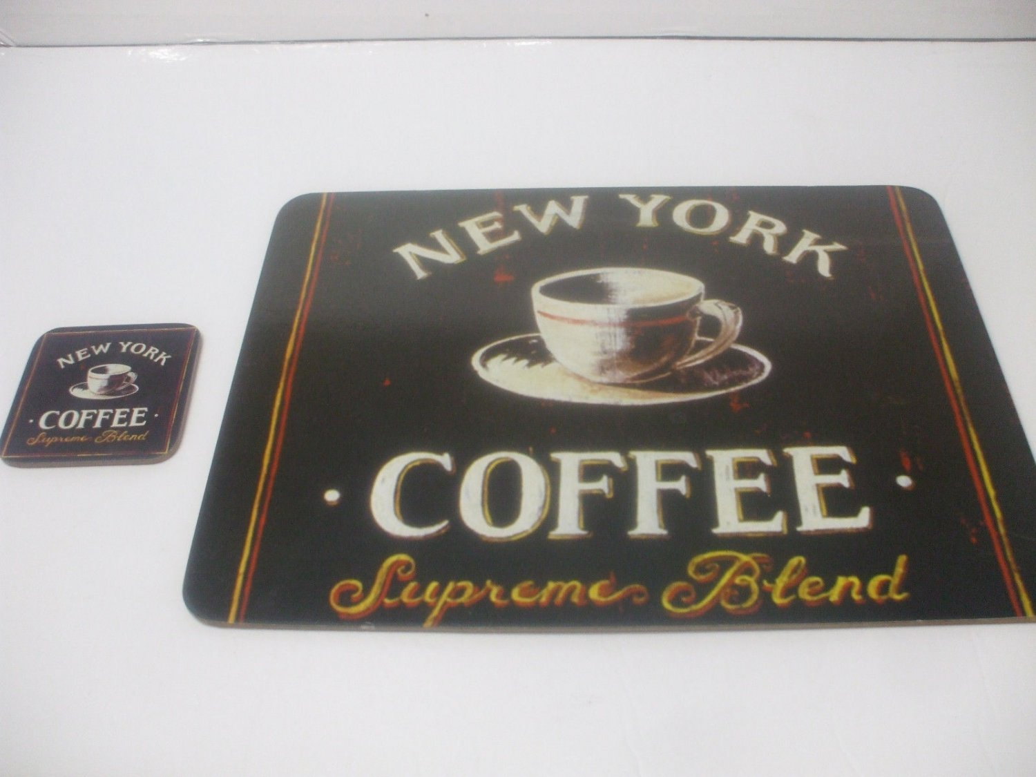 Shabby Chic Corkboard Placemat And Coaster 15 Inches X 13 Inches New York Coffee Supreme