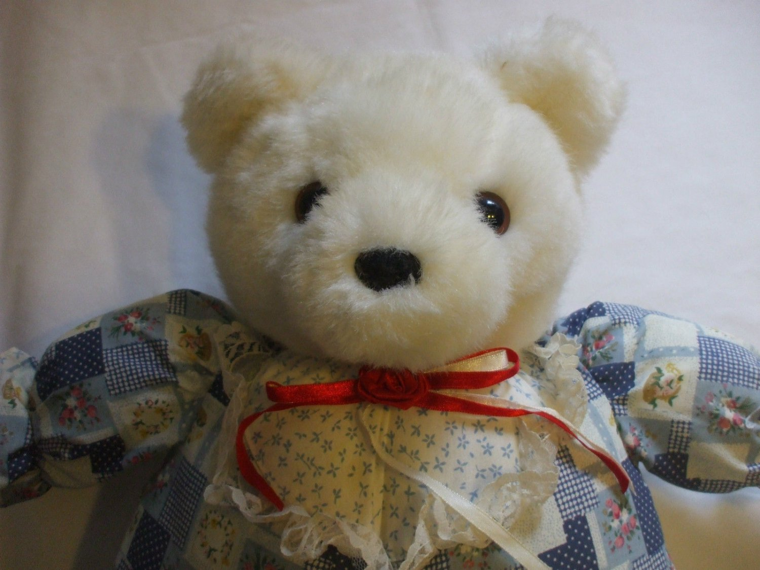 21 Inch Tall White Teddy Bear Country Outfit