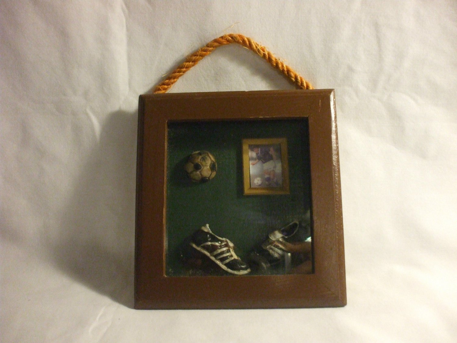 Shabby Chic Rustic Wooden Soccer Frame Home Decoration