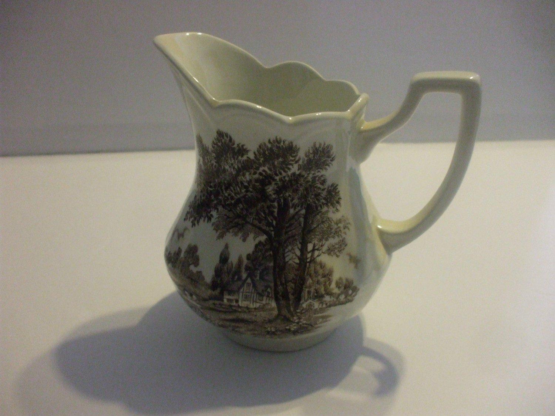 Ceramic Creamer Black  White Country Design  Holds 12 Oz / 350ML