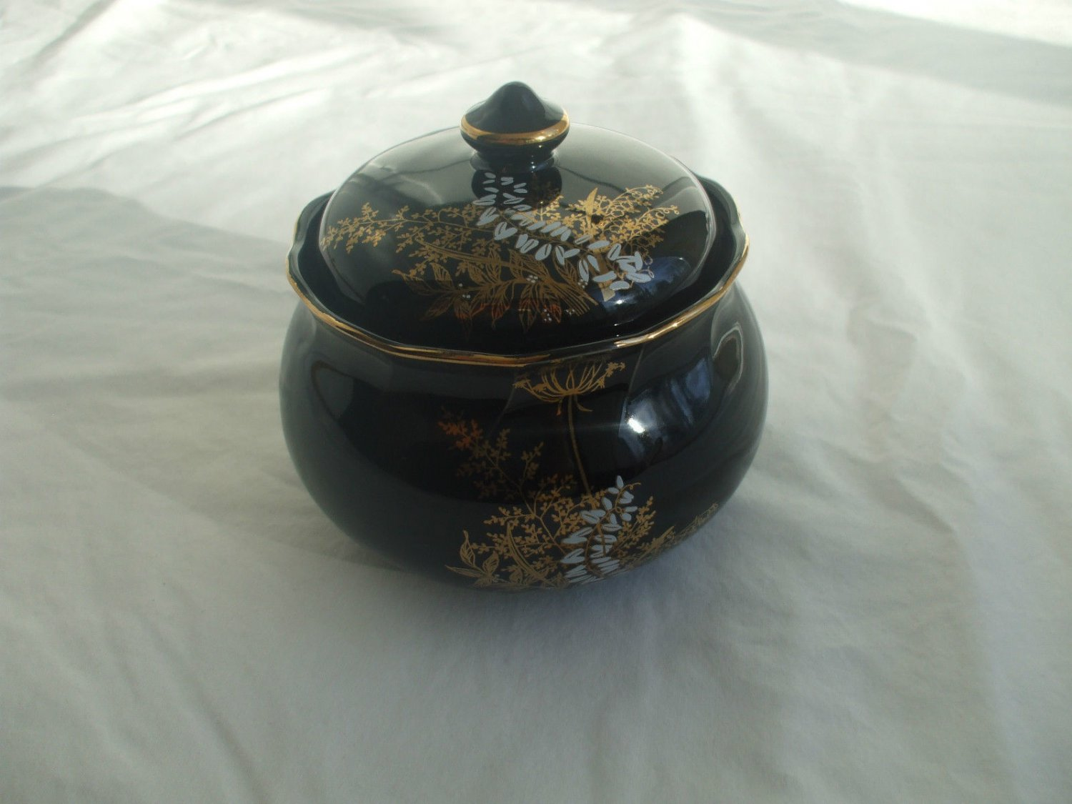 Black Glass Candy Or Sugar Dish With Lid Gold Paint Decoration Trim And Design
