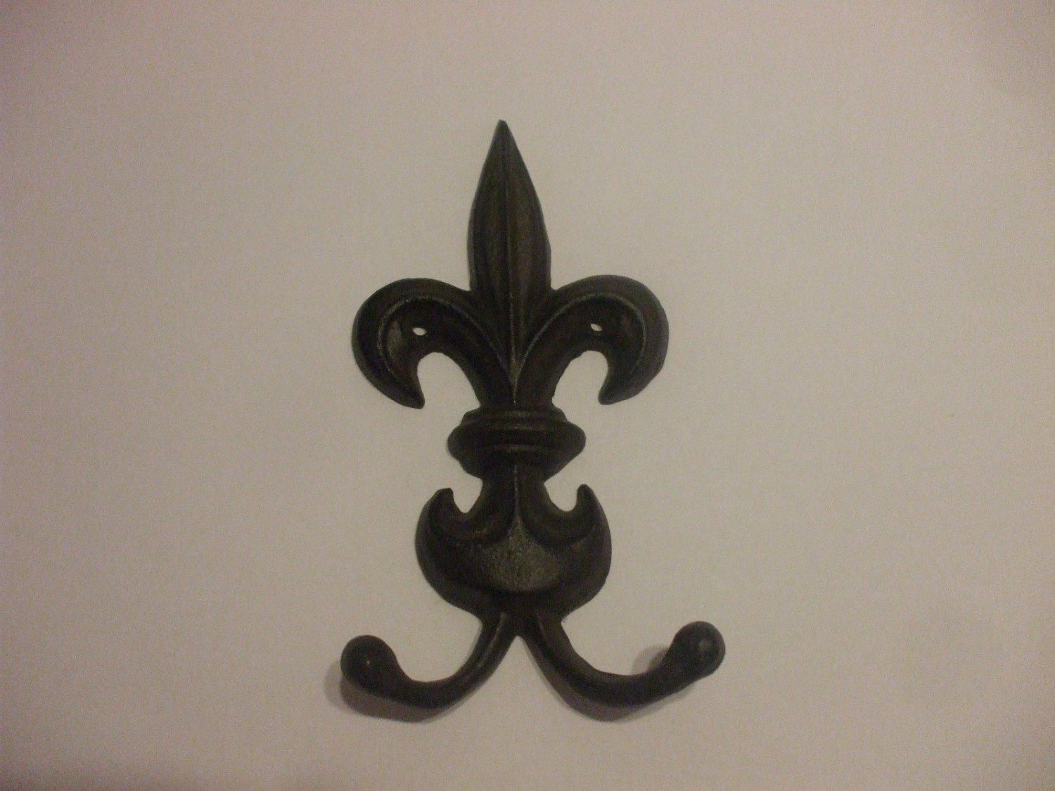 Shabby Chic Metal Wall Hook Heavy Duty Fleur De Lys 6 Inches Long 3.5 Inches Wide