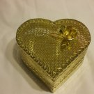 Delicate Golden Metal Heart Container 5 Inches wide 2 Inches Tall