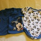 Disney Baby Mickey Mouse Blue Top and Romper Set 3-6 Months 2 Pc100% cotton
